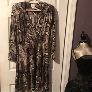 Snake print faux wrap style dress
